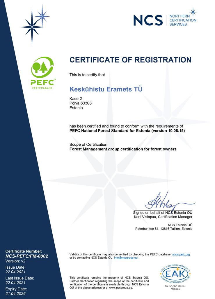 PEFC sertifikaat. Metsühistu